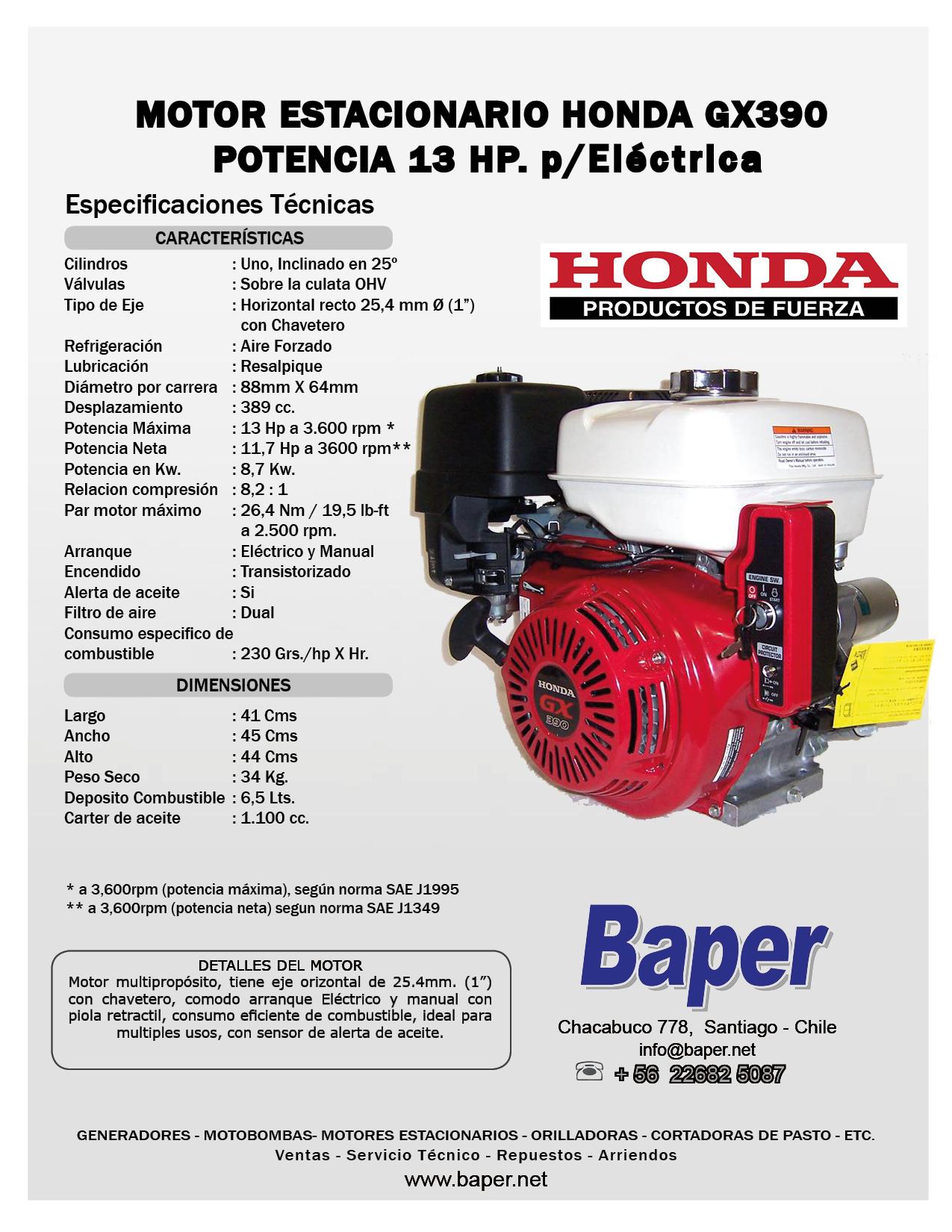 motor estacionario honda bencinero gx390 13 hp arranque electrico rh baper net Comprar Recambios Chaffoteaux Recambios Coches Sin Carnet Sevilla