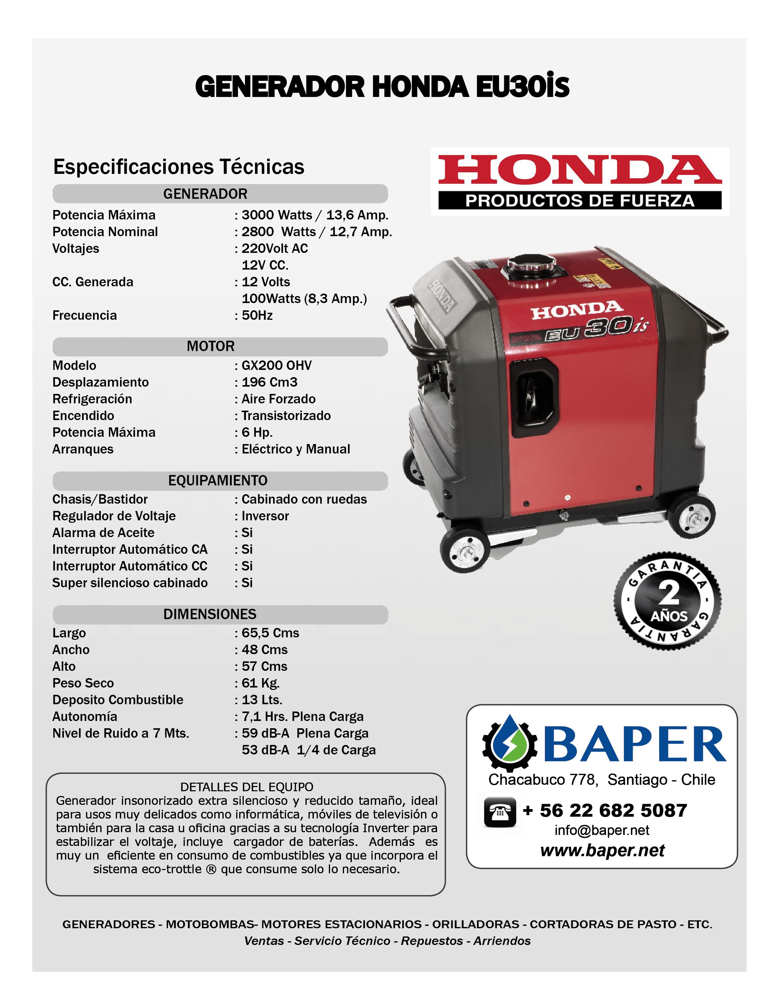 Generador honda 3 0 kva eu30 is insonorizado baper for Generador electrico honda precio