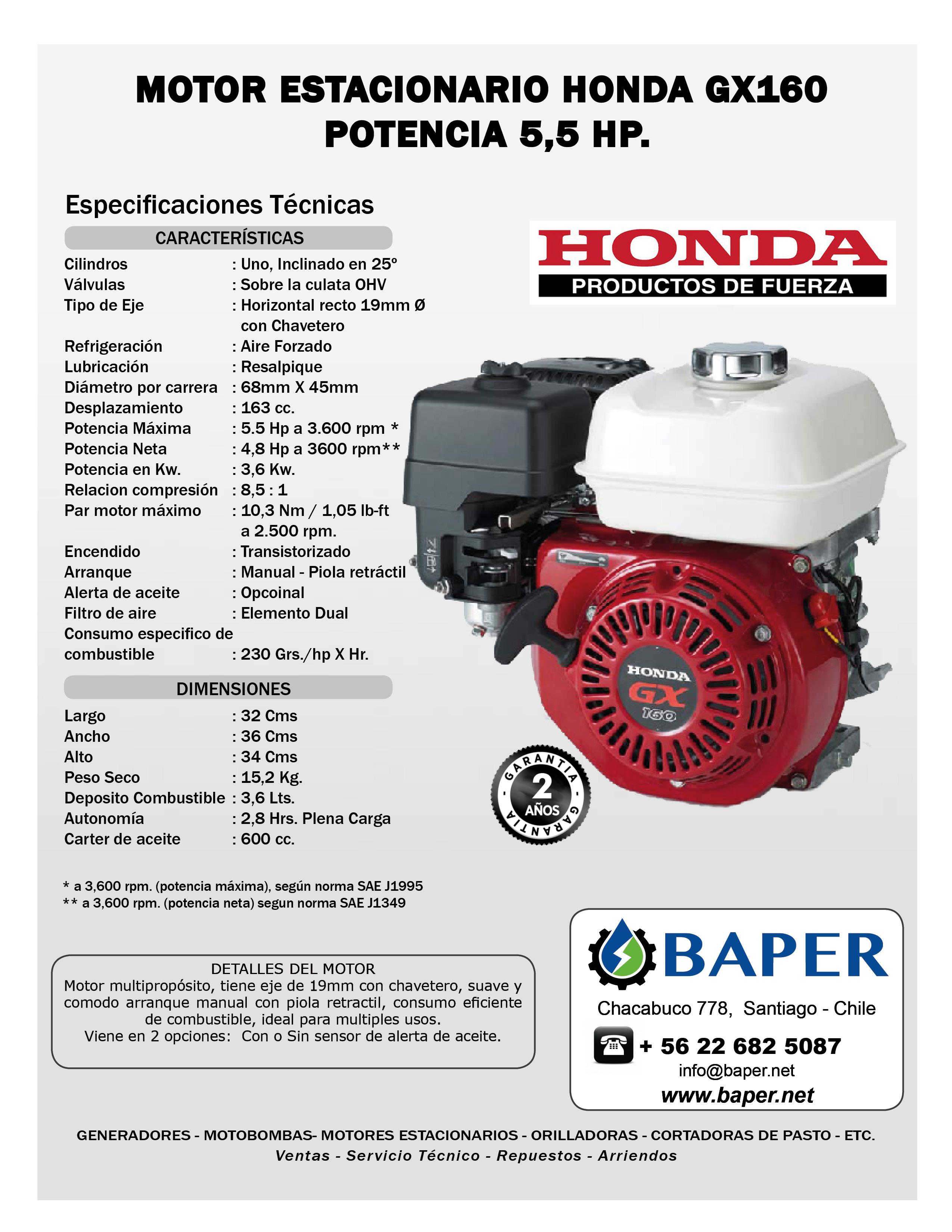motor estacionario honda bencinero gx160 5 5 hp sin alerta de aceite rh baper net generador honda gx160 manual Generador Soldador